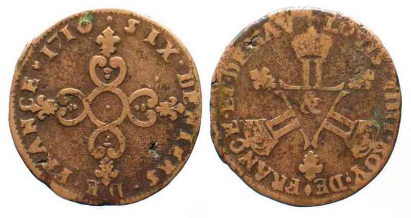 Reino de Francia, Six deniers Dardennes, Louis XIV (Aix), 1710. 523957242