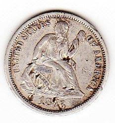 EE.UU, 10 centavos Liberty Seated Dime 1873 79624199