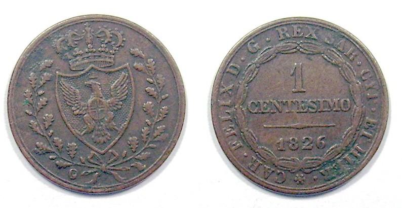 Reino Sardinia, 1 Centésimo, Carlo Felix de Savoya (1821-1831), ceca Turin. 991914665