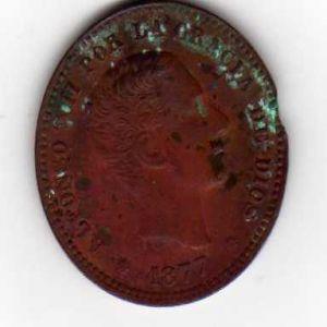 moneda de Alfonso XII año 1877 de 5 centimos 122542611