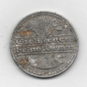 República de Weimar. 50 pfennig de 1922, marca de ceca 'D' (Munich) 154048414