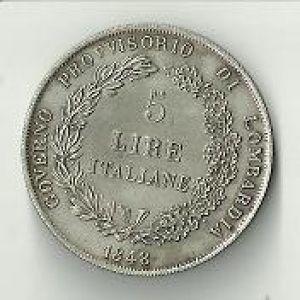 Italia (Provisional Lombardía), 5 liras, 1848. 172839701