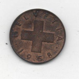 1 Rappen de Suiza de 1958, acuñada en Berna [KM#46] 201756881