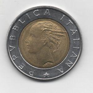 Italia, 500 Liras, año 1993  KM#160. 215705886