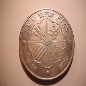 100 PTS 1966 FALSA DE EPOCA EN ¡PLATA! 22285556