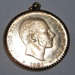 25 pesetas de oro de Alfonso XII 1881 MS M año reacuñado y estrellas raras. 360588115
