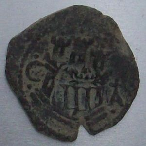2 Maravedíes de Felipe II (Cuenca, 1585) con resello al III/1603 de Cuenca 433084736