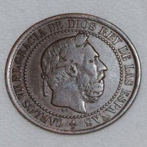 5 Céntimos de Carlos VII (pretendiente), año 1875 COINCIDENTE 519656495