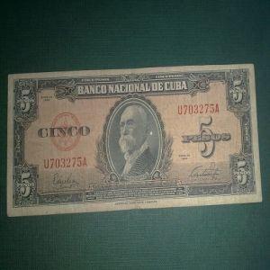 Billete 5 Pesos Cuba 1949 527624904