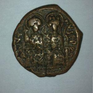 Follis de Justino II y Sofia, Constantinopla, año 12 600528877