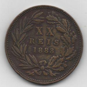 20 Reis de Luis I de Portugal acuñados en 1883 [KM 527] 645483302