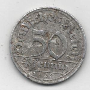 República de Weimar. 50 pfennig de 1922, marca de ceca 'D' (Munich) 646014951