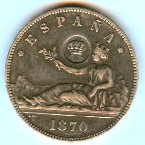 moneda 5 pesetas plata 1869 713654643