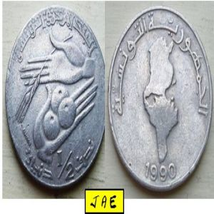 TÚNEZ - Medio Dinar de 1990 [KM#318] 751778770