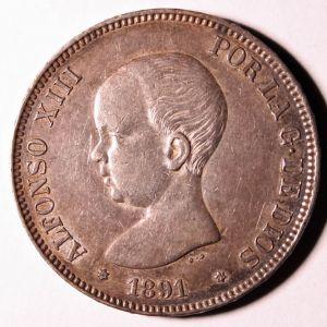 Alfonso XIII 1891 *91 - 5 PESETAS - Ayuda para determinar conservación 760039588
