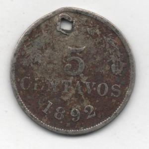 Bolivia, 5 Centavos, 1892 880294801