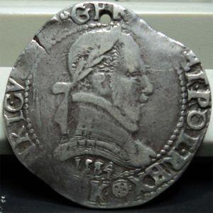 Francia - Franc au col plat de Henry III (Bordeaux, 1584) 964862697
