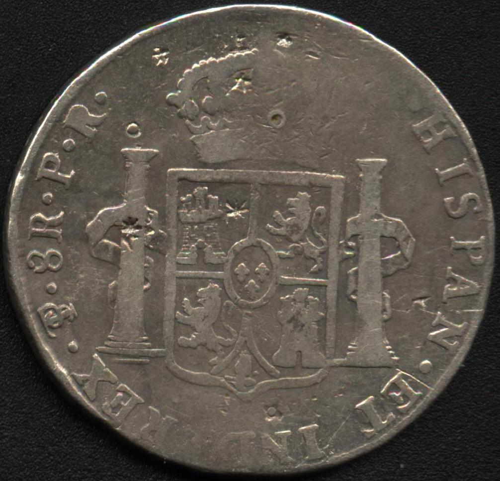 8 Reales de Carlos IV (1792 Potosí PR) (con resellos chinos) 28333244