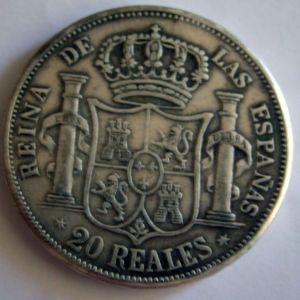 FALSA 20 Reales de Isabel II (1833-1868), ceca Madrid, año 1860 154981604