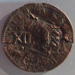 8 Mrs. de Felipe III (Segovia, 1615) con resellos XII/1641 Valladolid y 8/1652 186743419