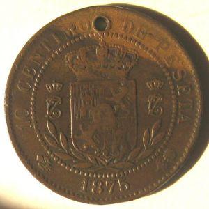 10 Céntimos de Carlos VII (pretendiente), ceca ¿Oñate? o ¿Bruselas?, año 1875 210204050
