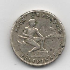 EUA (Filipinas), five centavos, 1945. 321217363