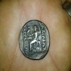 Reproducción en bronce de un tetradracma de Alejandro Magno 596576442