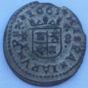 """8 Maravedíes """"busto"""" de Felipe IV  (Trujillo, 1663) 788126701"""