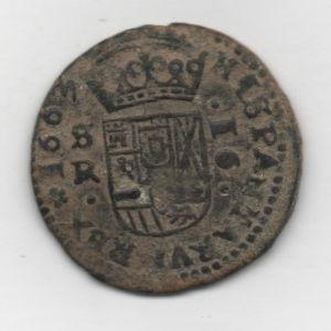 """16 Maravedíes """"Busto"""" de Felipe IV (Sevilla, 1663) [WM n° 8693] 796870626"""