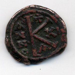 Medio Follis de Mauricio Tiberio , Constantinopla 920411365