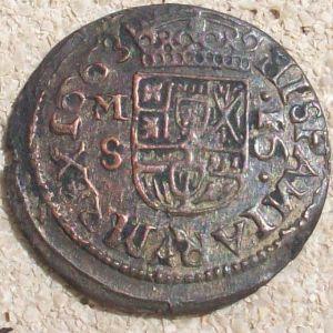 16 maravedis Felipe IV (Madrid, 1663) 3 puntos busto [WM n° 8700] 956530015