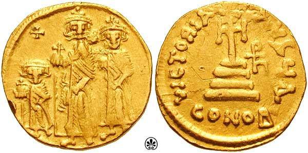 دراسة دينار بيزنطي لهرقل واولاده  هرقل مع ابنيه قسطنطين الثالث وهرقلوناس Sb0758