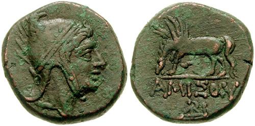 AE 22 de Amisos, Pontos (bajo reinado de Mithrades VI) SNGBMC_1212