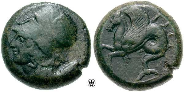 Litra de bronce de Siracusa , Sicilia acuñado en Tiempos de Timoleón (344-336 a.C.) Calciati_035