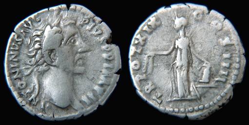 Denario de Antonino Pío. TR POT XIX COS IIII. Annona RIC_0249.3
