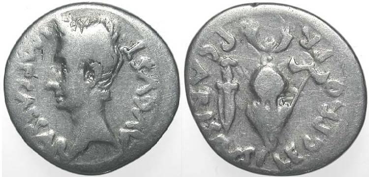 Denario de Augusto, a nombre de P. Carisius. RIC_0007b