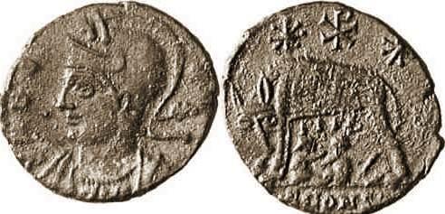 AE4 Conmemorativa de Roma. VRBS ROMA. Arlés _arles_RIC_400