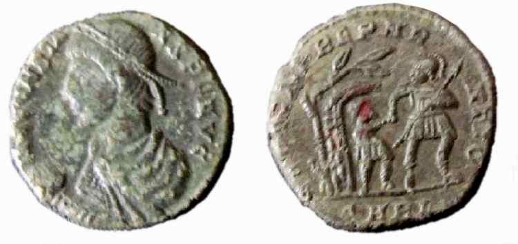 AE de Constante I. FEL TEMP REPAR-ATIO. Soldado avanzando a dcha. Arles. _arles_RIC_VIII_106_tree2