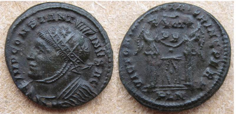 AE3 de Constantino I. VICTORIAE LAETAE PRINC PERP. Londres _london_RIC_vII_158