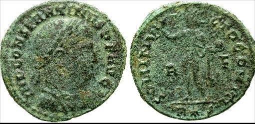 Nummus o follis de Constantino I. SOLI INVICTO COMITI. Roma _rome_RIC_vII_019.1