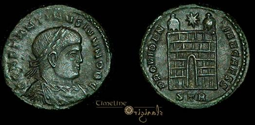 AE3 de Constantino II. PROVIDENTIAE CAESS. Trier _trier_RIC_vII_454