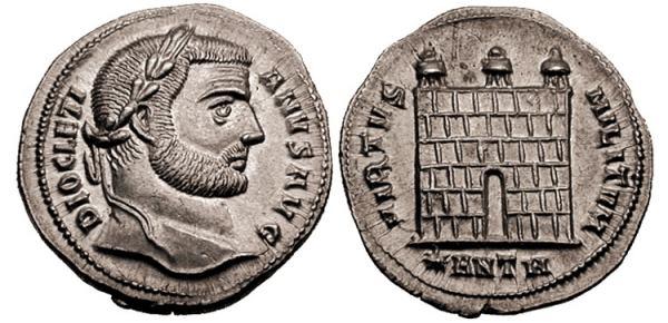 Argenteo de Diocleciano. VIRTVS MILITVM. Puerta de campamento de tres torres. Ceca Antioch. _antioch_RIC_037a.1