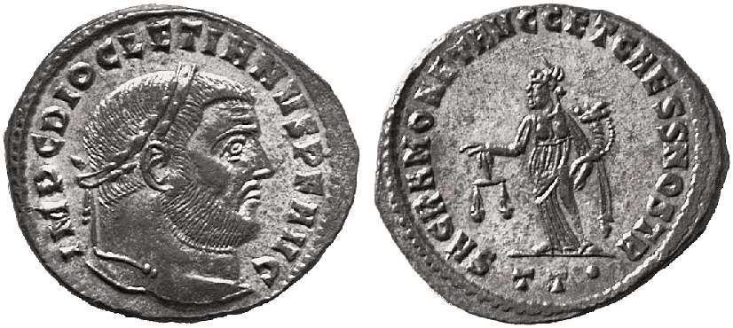 Nummus de Diocleciano. SACRA MONET AVGG ET CAESS NOSTR. Ticino  _ticinum_RIC_045a_T