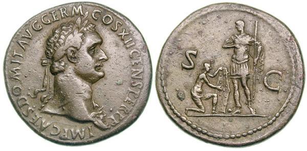 Sestercio de Domiciano./S C.  Domiciano estante frente a Cautivo arrodillado. RIC_0469