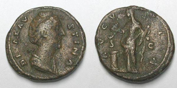 Dupondio o As de Faustina I. AVGVSTA /S C. Vesta RIC_1180