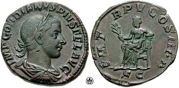 Sestercio de Gordiano III. P M TR P V COS II P P /S C. Apolo RIC_0303a.3