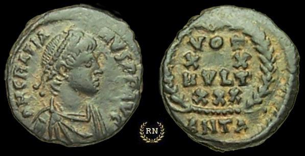 AE4 de Graciano. VOT / XX / MVLT / XXX dentro de corona. Antioch. _antioch_RIC_058a