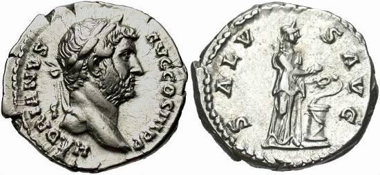 Denario de Adriano. SALVS AVG. Roma RIC_0267
