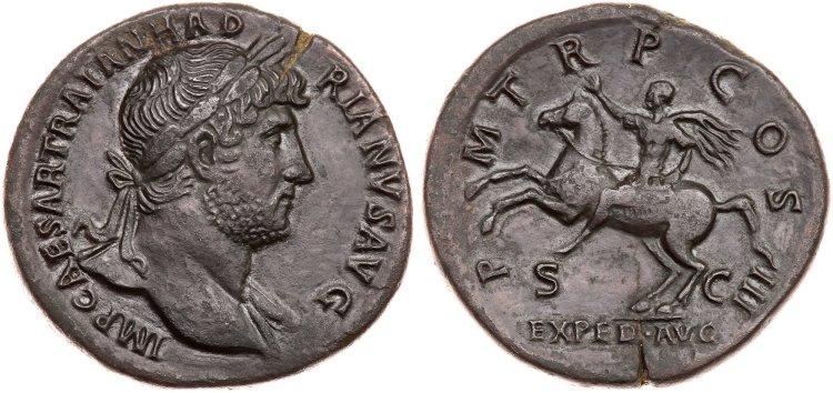 Sestercio de Adriano. COS III / EXPED AVG /S C. Adriano a caballo RIC_0613b