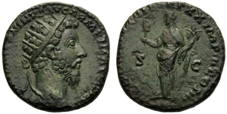 Dupondio de Marco Aurelio. CONG AVG III TR P XX IMP III COS III /S C. Liberalitas RIC_0913